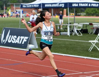 Roxanne Brockner running the 100 meter