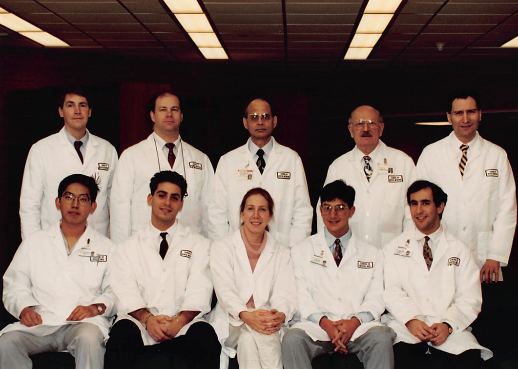 A group photo of the original faculty members and students of Stony Brook School of Dental Medicine's Advanced Education Program in Periodontics.
