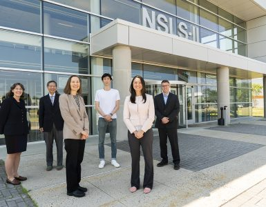Members of the research team are shown outside of NSLS-II. Pictured from left to right are Amy Marschilok, Ken Takeuchi, Esther Takeuchi, Daren Wu, Lisa Housel, and David Bock.