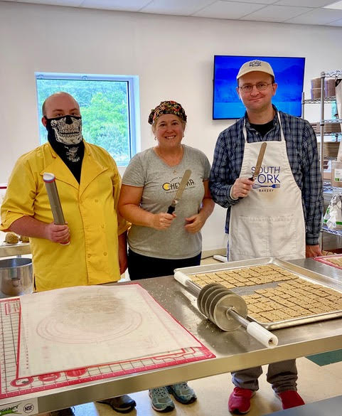 Petra Pasquina, founder and CEO of Chewma, with her two bakers at the Stony Brook Food Incubator