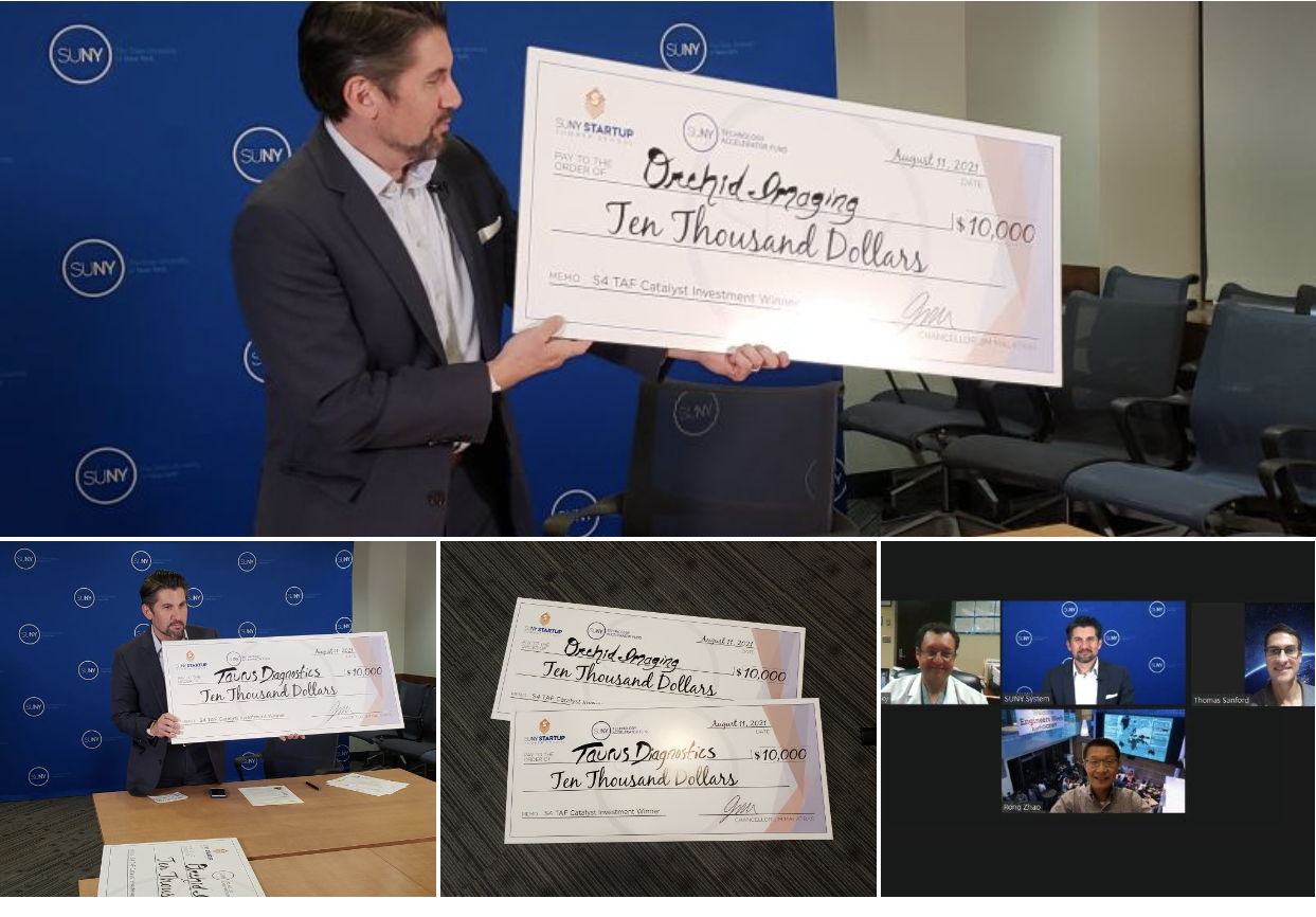 SUNY Chancellor Jim Malatras virtually presented the winning check to Orchid Imaging.