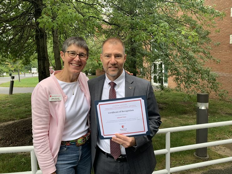Assistant Dean of Students & Director of Student Support Student Affairs Nominator Ellen Driscoll with Assistant VP for Advancement Edward Testa '87.