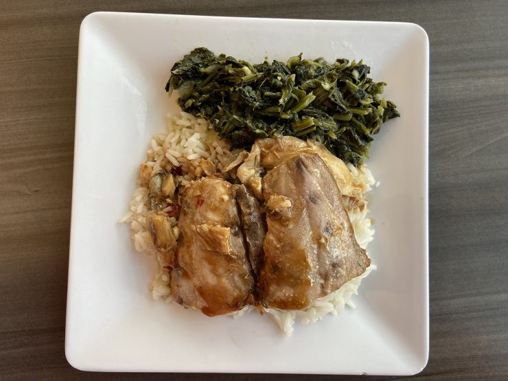 Barton Seaver's Bluefish with Soy and Citrus Marinade, Jasmine Rice and Steamed Spinach