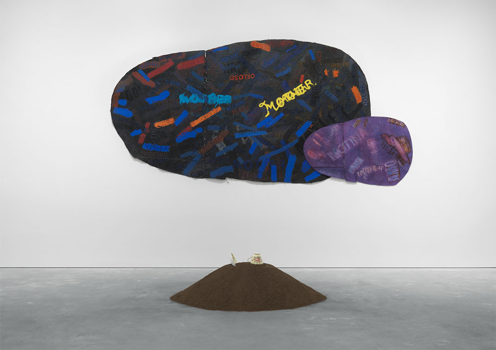 Howardena Pindell, Mother: Umbra Penumbra, 1997, mixed media on canvas, 51 x 95 ½ inches. Courtesy the artist and Garth Greenan Gallery, New York.