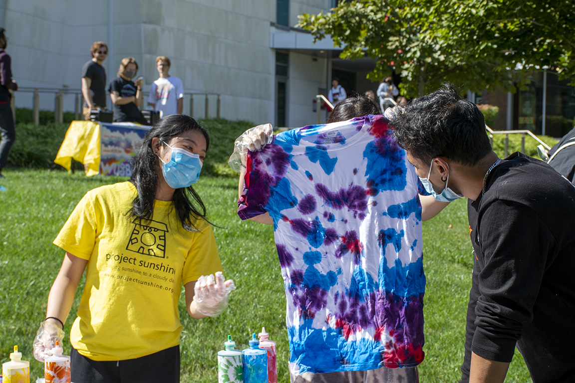 At the Tie-Dye and Sunshine fundraiser, the Stony Brook community made tie-dye socks, hats and T-shirts.